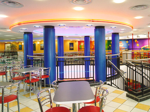 burger-king column casings for central eating area